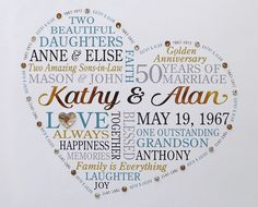 Anniversary Gift for Parents Anniversary Word Anniversary Words, Golden Wedding Anniversary Gifts, Anniversary Gifts For Parents, Anniversary Gifts For Couples, Important Dates Sign, Traditional Anniversary Gifts, Parent Gifts, Modern, Party