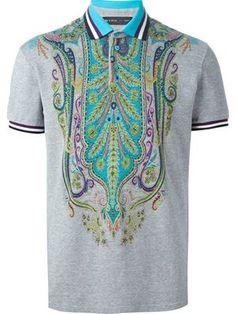 Designer Polo Shirts for Men 2015 - Farfetch Mens Hottest Fashion, Mens Fashion, Fashion 2015, Dandy Style, Printed Polo Shirts, Stylish Tops, Golf Outfit, Golf Shirts, Shirt Designs