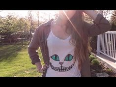 DIY | Cheshire Cat Shirt ♥ - YouTube Playera, colores del gato rison para hacer en playera Serigrafia