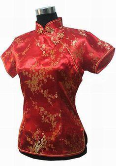 Encontrar Más Blusas y Camisas Información acerca de Alta Moda de Las Mujeres Chinas Rojas de Seda Blusa Floral…