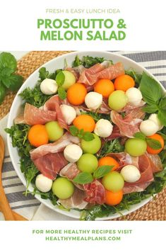This Melon Bocconcini Prosciutto Salad pairs classic Italian ingredients to create a sweet and savory take on the traditional Caprese salad. It's so simple and yet so delicious! Perfect for a healthy al fresco lunch or an easy light summer dinner Italian Appetizers Easy, Elegant Appetizers, Appetizer Recipes, Salad Recipes, Healthy Recipes, Weekly Recipes, Lunch Recipes, Cantaloupe And Melon, Melon Salad