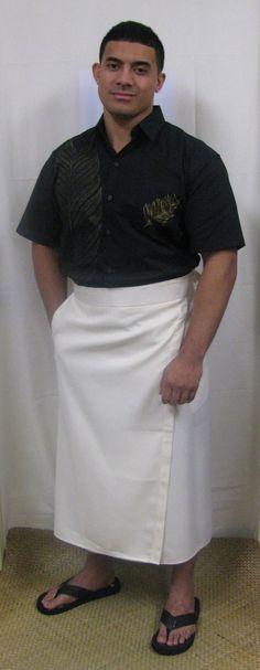 White ie faitaga (Men's Samoan formal lavalava)
