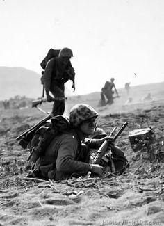 Inland shot at 0900, D-Day plus 1. Iwo Jima - February 20, 1945