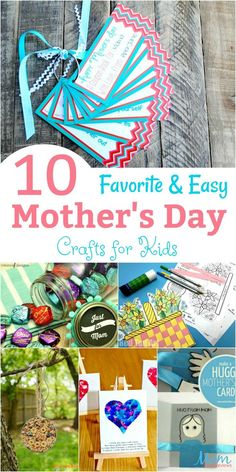 10 Favorite and Easy Mothers Day Crafts for Kids banner - Easy Crafts for All Easy Mother's Day Crafts, Mothers Day Crafts For Kids, Crafts For Girls, Crafts To Make, Kids Crafts, Craft Activities For Kids, Preschool Crafts, Spring Activities, Diy Niños Manualidades