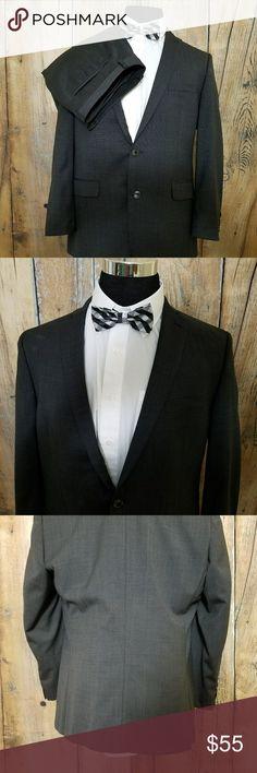 "Bar III Mens Slim Fit Suit 46R Grey Great Condition Mens Suit Measurements are taken laid flat:  Pit to pit - 23"" Shoulder to shoulder - 19"" Shoulder to cuff - 25"" Waist - 22"" Length - 32.5""  Pants Inseam - 27"" Waist - 19"" Cuff - 8"" Suits & Blazers Suits"