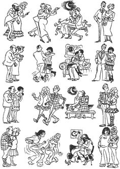 Fathers and Sons. Vintage cartoons by the Danish artist Herluf Bidstrup.