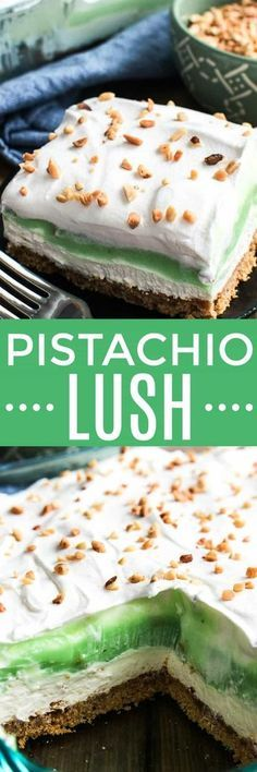This creamy Pistachio Lush Dessert is one of our family's favorites! Layers of cheesecake, whipped cream, and pistachio pudding are combined with a delicious graham cracker crust and topped with chopped nuts. This easy pistachio pudding dessert can be made ahead and is perfect for feeding a crowd!