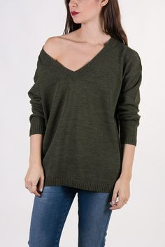 the Every Day V in Khaki knitted sweater slouchy by videoclothing