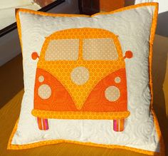 Adorable! VW Van Pillow from the Yorkshire Modern Quilt Guild