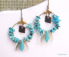 Click here to buy now  Turquoise Chip Hoop earrings Turquoise spike by CocoFlowerShop