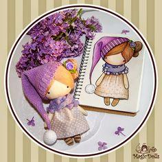 Ma Petite Poupee - Lilac Gnome  материалы: хлопок, бязь, шерсть, микрофибра, атласная лента, холлофайбер. размер: h=14,5cm, w=10cm.