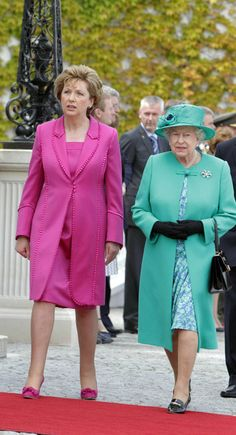 President Mary Mc Aleese welcomes Queen Elizabeth II at Aras An Uachtarain on May 17, 2011 in Dublin,Ireland.