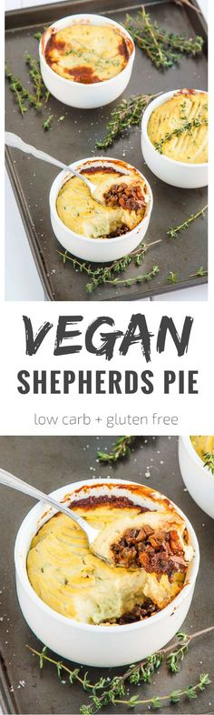 The British classic gets a makeover with mushrooms and cauliflower. This is a lo… The British classic gets a makeover with mushrooms and cauliflower. This is a low carb vegan shepherds pie that the whole family will love! Vegan Dinner Recipes, Veggie Recipes, Whole Food Recipes, Cooking Recipes, Healthy Recipes, Pie Recipes, Paleo Dinner, Low Carb Vegitarian Recipes, Vegan Califlower Recipes