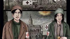 Dit zijn Elsie en Mairi. De twee hoofdpersonages in het boek. Het zijn twee vriendinnen die samen beslissen om helemaal alleen een verbandpost op te richten. Vlak bij het slagveld! Zo kunnen ze sneller de soldaten helpen want die halen meestal het ziekenhuis niet...