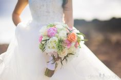 Garden Rose & Peonies bouquet with pops of color by Bliss Wedding Design & Spectacular Events PC: Dmitri & Sandra Photography Maui Weddings, Hawaii Wedding, Wedding Day, Maui Wedding Photographer, Peonies Bouquet, Christmas Wedding, Wedding Designs, Floral Arrangements, Color Pop