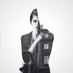 Artful, Double Exposure Black-And-White Photographs Blend People & Architecture - DesignTAXI.com