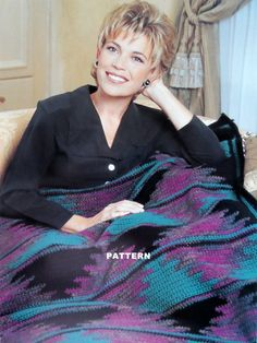 Crochet  Pattern  Afghan Blanket  SOUTHWESTERN DIAMONDS by pluinct, $2.49