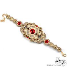 Oriental Soutache Set, Oriental Jewelry Set, Beige Red Soutache Jewelry, Unique Soutache Jewelry, Small Dangle Earrngs, Red Dangle Earrings,