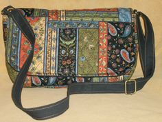 Purse with Flap Shoulder Bag Crossbody Bag Quilted Patchwork Multi-Colored-Smaller Version