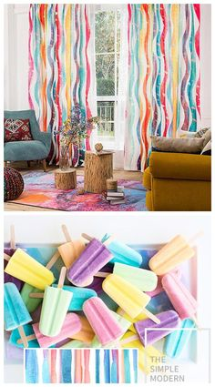 Colorful curtains for summer, bring you a cool feeling. Colorful home decor ideas.