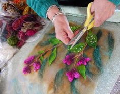 FELTING matters... laying out wet felted fibers for flower picture
