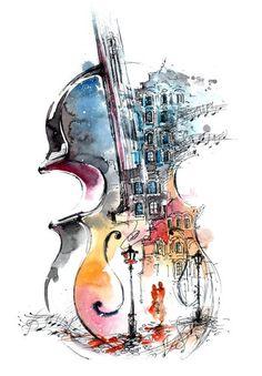 写 し だ す 楽 器 sanat fikirler arte, violin dibujos ve pinturas musica. Music Drawings, Music Artwork, Art Drawings, Music Painting, Guitar Painting, Painting Art, Drawing Art, Violin Art, Violin Drawing