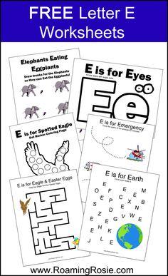 Free Letter E Printable Worksheets {Alphabet Activities at RoamingRosie.com}
