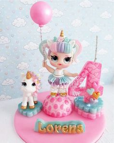 "Arte da Love 🔁Elizabeth on Instagram: ""Topo lol unicórnio 🦄🎀🦄🎀🦄🎀🦄🎀🦄🎀🦄🎀🦄🎀🦄🎀🦄 Consulte nossa agenda, orçamento por Whatsapp. 85988419228"" Cake Topper Tutorial, Fondant Tutorial, Cake Toppers, Doll Birthday Cake, Funny Birthday Cakes, Soy Luna Cake, Masha Cake, Polymer Clay Cake, Custom Candles"