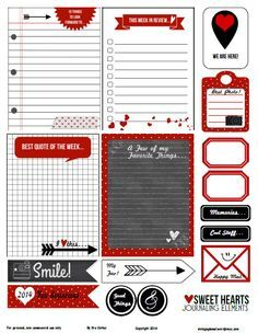 Free printable pdf download of sweethearts journaling elements and cards for your project life and other pocket scrapbooking use. Free for personal use only. LOVE HER PAGE. TC