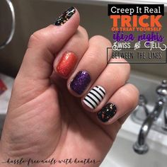 I've got all the Halloween feels from this awesome mixed Mani! October is almost upon us! Get your Halloween sets today! Photo Credit: Hassle Free Nails with Heather . Manicure Tips, Diy Nails, Manicures, Sassy Nails, Trendy Nails, The Beauty Department, Nail Studio, Nail Bar, Color Street Nails