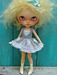 Blythe doll dress  OOAK Boho outfit  jeans hearts and by Marinart, $40.00