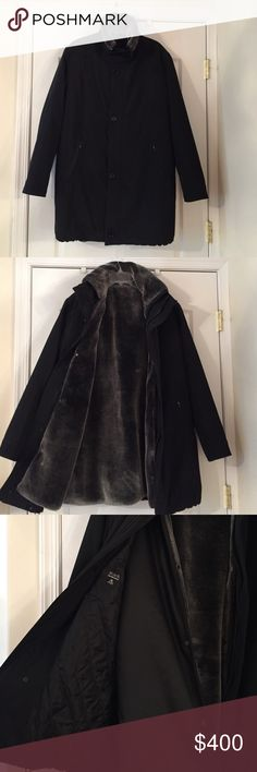Black Saks Fifth Avenue mens warm winter coat Saks Fifth Avenue Elegant fall/winter coat with removable warmer. This coat is extra warm for cold winter days. Barely worn. Excellent condition. Saks Fifth Avenue Black Label Jackets & Coats