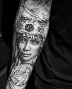 """Amazing artist Pablo Aponte @lordpablo awesome wolf girl hat rose photo realism portrait tattoo sleeve! @art_spotlight @art_motive @worldofpencils @natgeowild @natgeo @worldofartists @inksav @nytimes @voguemagazine @sephora @hm #pablo #blackandgrey #elegant #oc #pabloaponte #design #amazing #girl #art #artwork #lowridertattoo #europe #portraits #wolftattoo #tattoos #portrait #westcoast #rose #tattoosleeve #la #cali #sleeve #beautiful #tattoo  #hat #artsy #fashion #wolf #style #fashion #3d"