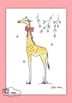 Illustration à encadrer La Girafe : Décoration pour enfants par alixaime