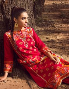 Khaadi Red Pakistani Cotton Lawn Suit With  Dupatta B15541A