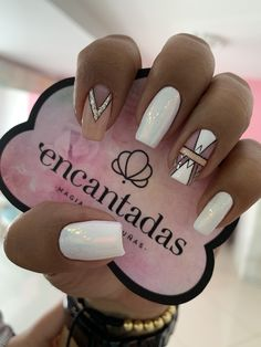 What Christmas manicure to choose for a festive mood - My Nails Stylish Nails, Trendy Nails, Love Nails, My Nails, Long Square Nails, Silver Nails, Cute Acrylic Nails, Nagel Gel, Powder Nails