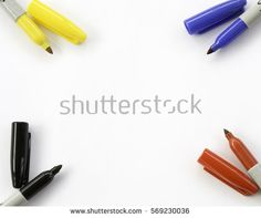 Yellow Blue Red Black Sharpie Markers Stock Photo (Edit Now) 569230036 Blank White Background, Sharpie Markers, Black Sharpie, Red Black, Yellow, Blue, Photo Editing, Royalty Free Stock Photos, Image