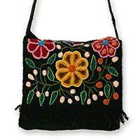 Novica Wool flap shoulder bag, Tarma Muse - Floral Embroidered Wool Shoulder Bag
