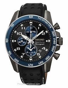 Seiko Sportura Alarm Chronograph - Black Ion & Blue - Leather Strap - Date
