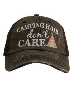 Look what I found on #zulily! Brown & Coral 'Camping Hair Don't Care' Hat #zulilyfinds