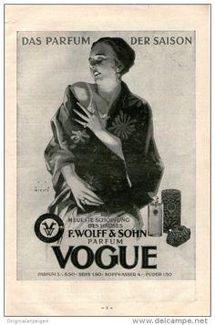 Original-Werbung/Inserat/ Anzeige 1929: 1/1-SEITE PARFUM VOGUE / WOLFF & SOHN ca 150 X 240 mm
