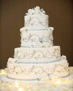 Wedding, Reception, Cake, White, Silver