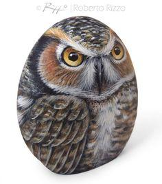 Original Hand Painted Rock Owl A Stunning Piece by RobertoRizzoArt
