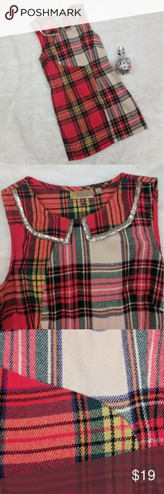 "Princess by Vera Wang Plaid Sequin Dress Adorable!  Plaid dress with sequin Peter Pan collar from Princess by Vera Wang with hidden side zipper.  Dress is junior's size 5 so please check measurements before offering/buying.  Dress shows no signs of wear and has fun metallix thread running throughout.  Laying flat and unstretched, dress measures approximately 16.5"" from armpit to armpit, 14.5"" across waist, 17.5"" across hips, and 32"" long. Vera Wang Dresses Mini"