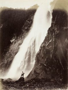 """dame-de-pique: """" Burton Brothers Studio - Bowen Fall, 1882 """"                                                                                                                                                                                 More Old Photos, 19th Century, Waterfall, Feels, Studio, Random, Places, Pictures, Photography"""