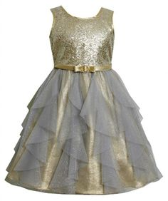 Amazon.com: Bonnie Jean Girls 4-6X Gold Sequin and Glitter Vertical Cascade Mesh Lame Dress: Clothing
