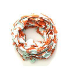 Fun scarf in orange and mint!