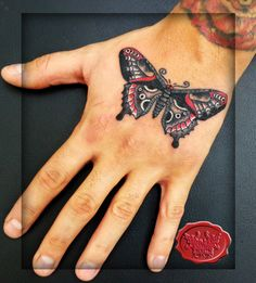 traditional sailor jerry butterfly on the hand tat by loop1974.deviantart.com on @deviantART