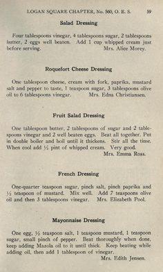 Original recipes of good things to eat Retro Recipes, Old Recipes, Vintage Recipes, Cookbook Recipes, Cooking Recipes, Family Recipes, Salad Dressing Recipes, Salad Dressings, Old Fashioned Recipes