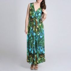 @Overstock.com - La Cera Womens Peacock Printed Sleeveless Maxi Dress - This casual dress from La Cera has a vibrant peacock feather print in hues of cyan, blue, and green. The long maxi length is great for day or night, finished with a flattering empire waist. http://www.overstock.com/Clothing-Shoes/La-Cera-Womens-Peacock-Printed-Sleeveless-Maxi-Dress/7951764/product.html?CID=214117 $46.99